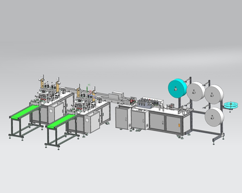 Full-automatic mask machine with one drag and two planes